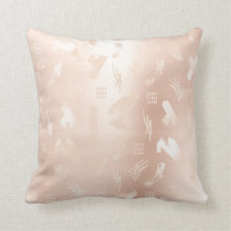 Pink Rose Powder Gold Glitter Metal Abstract Strok Throw Pillow
