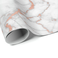 Pink Rose Powder Gold Pastel Gray Marble Glam Wrapping Paper