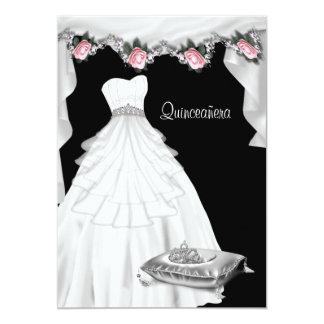 Pink Rose Princess Quinceanera Card