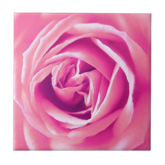 Pink rose print ceramic tile