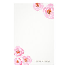 Pink Rose Print Stationery at Zazzle