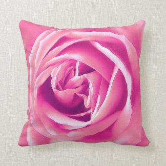 Pink rose print throw pillow