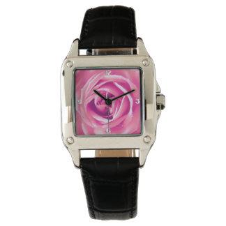 Pink rose print wrist watch