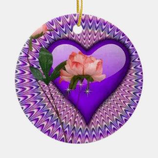 Pink Rose Purple Heart Ceramic Ornament