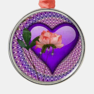 Pink Rose Purple Heart Metal Ornament