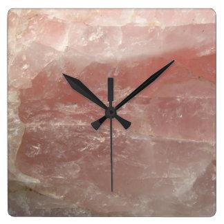 Pink Rose Quartz Stone Rock Photography Square Wall Clock