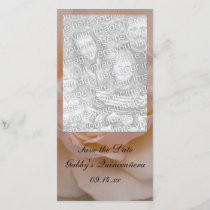 Pink Rose Quinceañera Save the Date Photo Card