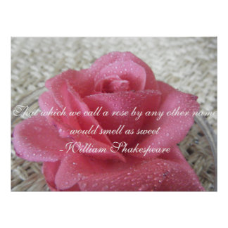 Pink rose Quote Poster
