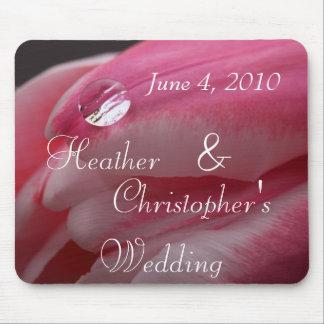 Pink Rose Raindrop Wedding Mouse Pad