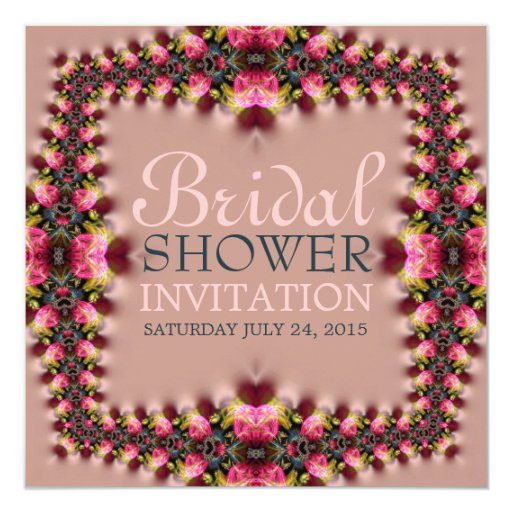 Pink Rose Romance Bridal Shower Invitation