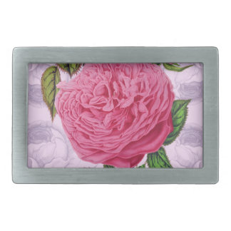 Pink Rose Romance Rectangular Belt Buckle