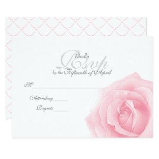 Pink Rose Romance Wedding RSVP Card