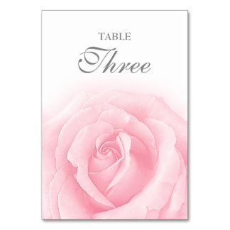 Pink Rose Romance Wedding Table Number 3