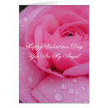 Pink rose Romantic Angel Valentines day Card