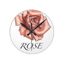 Pink Rose Round Clock