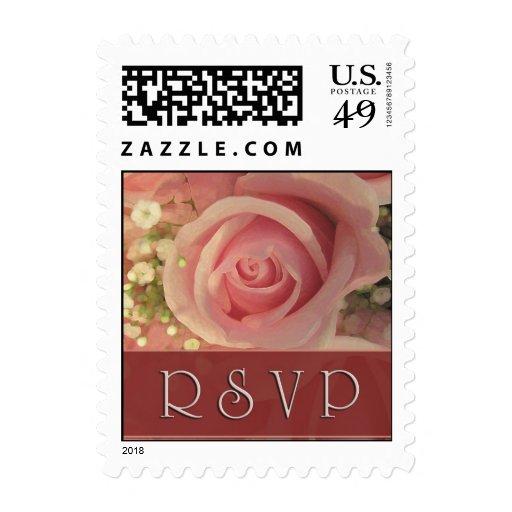 Pink Rose RSVP Postage Stamps
