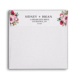 PINK ROSE Save the Date Envelopes Floral Bouquet