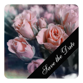 """Pink Rose Save the Date 5.25"""" Square Invitation Card"""