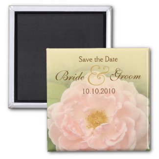 Pink Rose Save-The-Date magnet