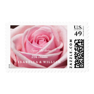 Pink Rose Save The Date Postage