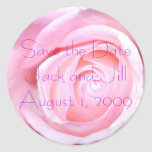 Pink Rose, Save the Date Round Stickers