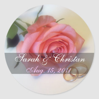 Pink Rose Save The Date Sticker