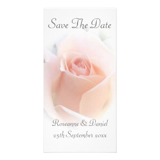 Pink Rose Save The Date Wedding Card