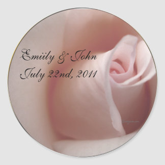 Pink Rose Save the Date Wedding Invitations Seals Classic Round Sticker