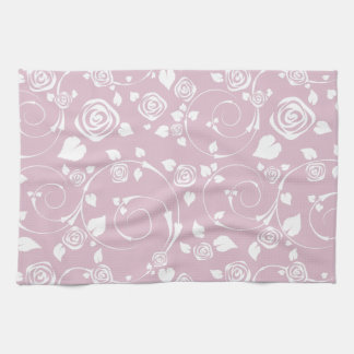 Pink Rose Scroll Kitchen Towels