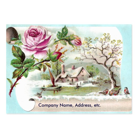 Pink Rose Scroll Victorian Trade Card