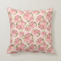 Pink Rose Shabby Chic Dot Pattern Throw Pillow