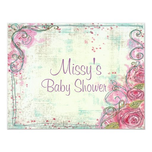Pink Rose Shower Invitation