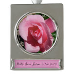 Pink Rose Silver Plated Banner Ornament
