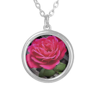 Pink Rose Silver Plated Necklace