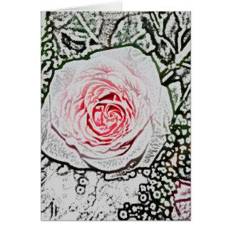 pink rose sketch color flower image greeting card
