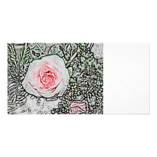 pink rose sketch color flower image custom photo card