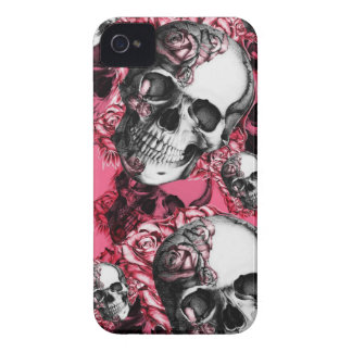 Pink rose skull pattern Case-Mate iPhone 4 cases