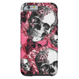 Pink rose skull pattern tough iPhone 6 case