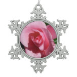 Pink Rose Snowflake Pewter Christmas Ornament
