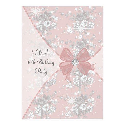 Pink Rose Sparkle Girls Birthday Party Invitation  Zazzle