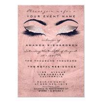 Pink Rose Stroke  Makeup Eyes Glitter 16th Bridal Invitation