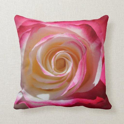 Pink Rose Swirl Throw Pillow Zazzle
