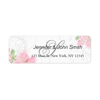 Pink rose swirls wedding | bridal shower invites return address label