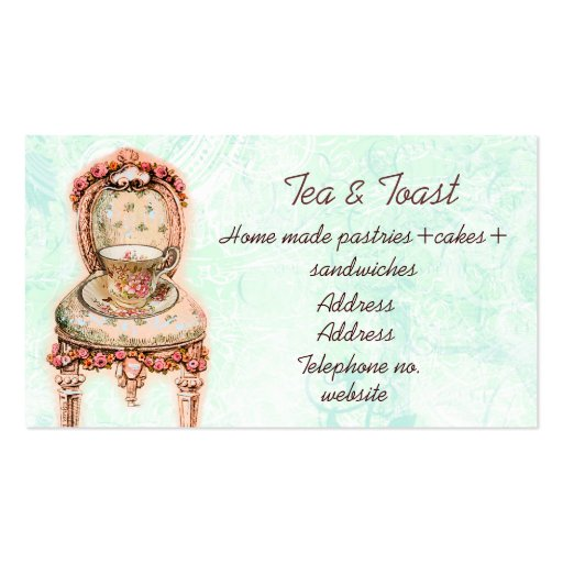 Pink Rose Teacup and Victorian Chair Business Cards
