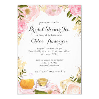 Pink Rose Teacup Bridal Shower Invitation