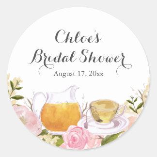 Pink Rose Teacup Bridal Shower Stickers