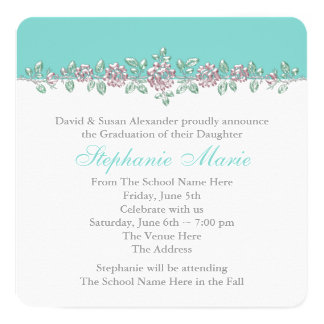 Pink Rose Teal Blue Graduation Announcements