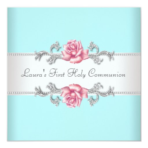 """Pink Rose Teal Girls Teal First Communion 5.25"""" Square Invitation Card"""