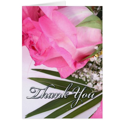 Pink Rose Thank You Note Greeting Cards