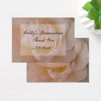 Pink Rose Thank You Quinceañera Favor Tags